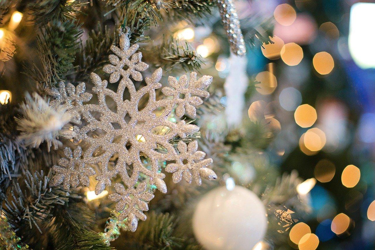 snowflake, ornaments, christmas tree